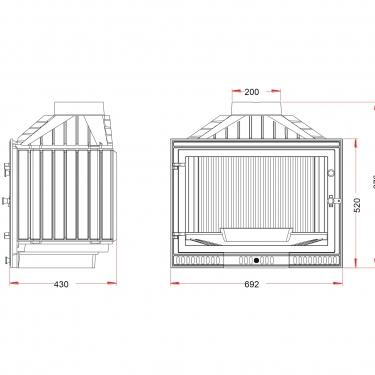 קמין עץ בנוי Foyer 700 Minos - שרטוט